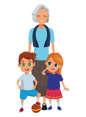 Family grandmother hand of with grandchildrens cartoons vector illustration graphic design