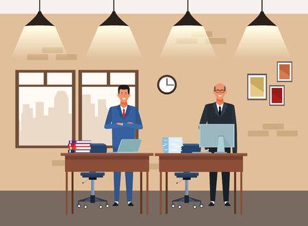 businessmen partners working at desks in the office, colorful design. vector illustration