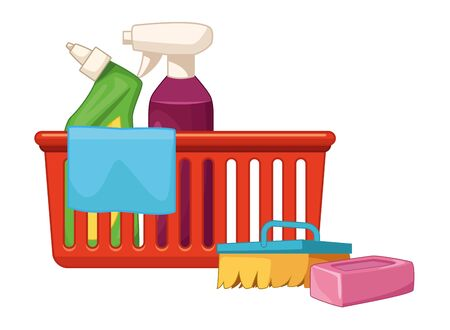 cleaning and hygiene equipment liquid soap, spray cleaner into a cleanliness basket with a cloth, scrum brush and soap bar vector illustration graphic design
