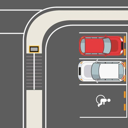 Cars and vehicles parked in lot with road signs, parking zone top view. vector illustration graphic design Banque d'images - 133184035