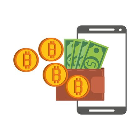 Bitcoin cryptocurrency online payment wallet and smartphone symbols vector illustration graphic design