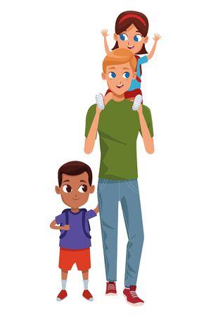 Alleinerziehender Vater der Familie mit Kind, das Schulrucksack hält, lokalisierte Vektorillustrationsgrafikdesign