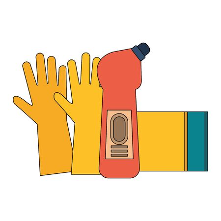 Cleaning equipment and products gloves and soap bottle with sponge vector illustration graphic design. Illustration