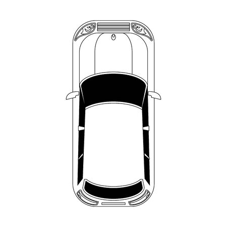 top view of classic car over white background, vector illustration Banque d'images - 133128893