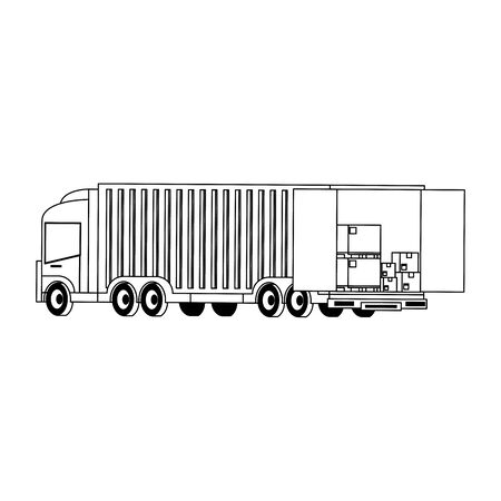 Cargo truck loaded with boxes isolated vector illustration Banque d'images - 133184427