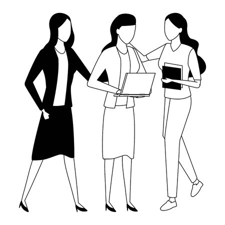 Business Women coworkers with clipboard office supplies and laptop in black and white isolated faceless avatar vector illustration graphic design