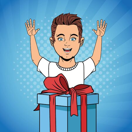 Pop art happy boy with arms up and birthday giftbox cartoon 일러스트