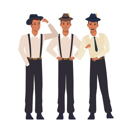 three men with cuban style over white background, colorful design. vector illustration