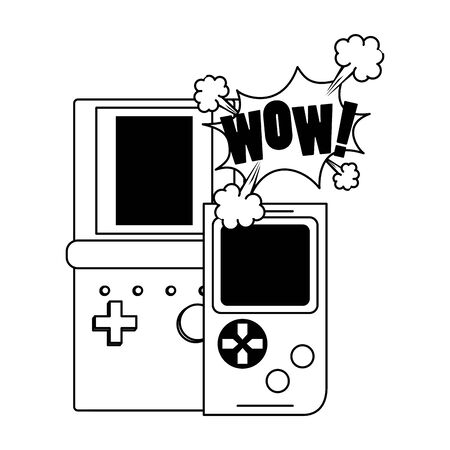 pop art design of retro portable video games over white background, vector illustration 일러스트