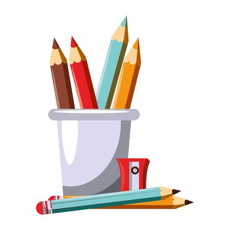 Back to school utensils colours pencils and sharpener cartoons vector ilustration graphic design vector illustration graphic design Illusztráció