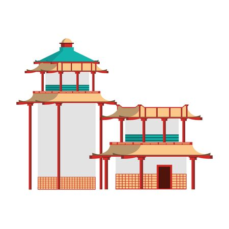 Asian temples icon over white background, vector illustration Stock fotó - 133184636