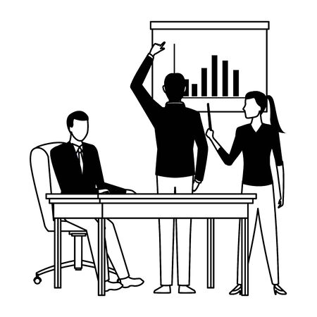 business business people businessman back view pointing a data chart, businessman sitting on a desk and businesswoman holding a wand pointing a data chart avatar cartoon character in black and white