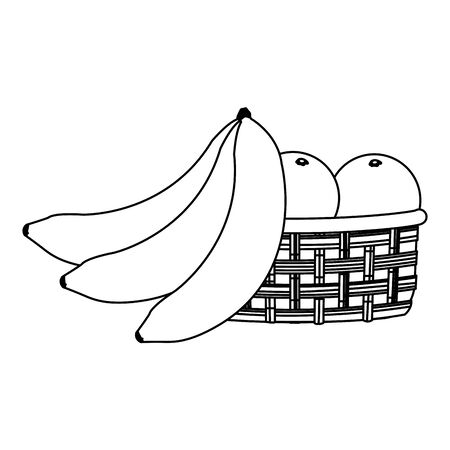 banana and basket with oranges over white background, vector illustration