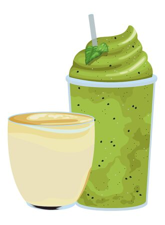 fruit tropical smoothie drink with small cup, plastic cup and straw icon cartoon vector illustration graphic design Vector Illustration