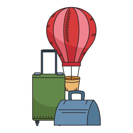 hot air balloon and travel suitcases icon over white background, colorful design. vector illustration