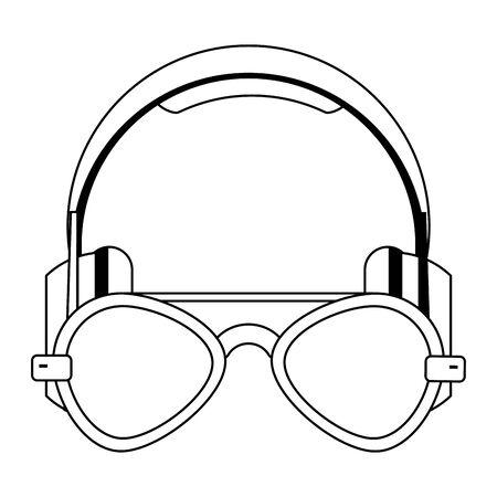 retro glasses and headphones icon over white background, vector illustration