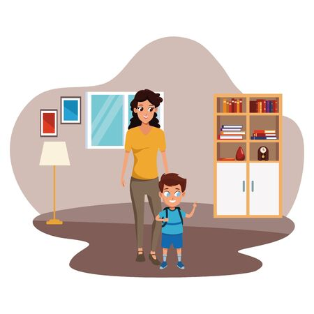 Family single mother with son holding school backpack inside home living room with furniture vector illustration graphic design