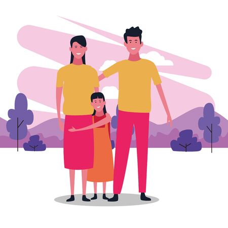 cartoon happy family with a girl over white background, colorful design. vector illustration Banque d'images - 133132862