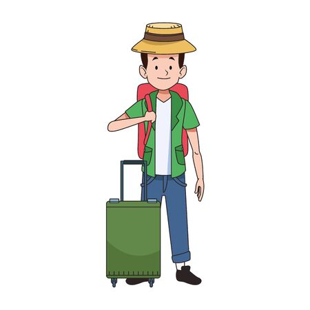 cartoon tourist with beach hat and travel suitcase icon over white background, vector illustration Ilustracja