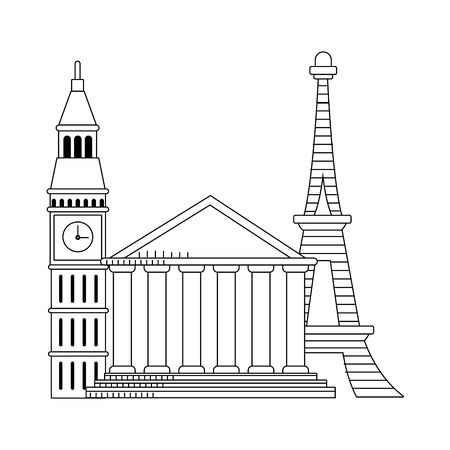 big ben with eiffel tower and rome pantheon over white background, vector illustration