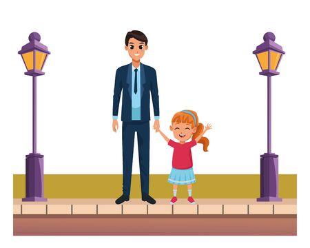 Padre soltero de familia e hija pequeña caricatura sonriente en el paisaje urbano de la calle, diseño gráfico de ilustración vectorial.