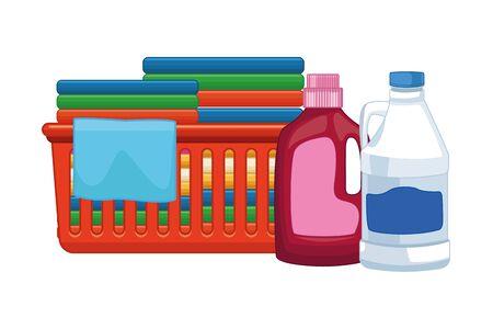 laver le linge et nettoyer la bouteille de détergent, l'eau de Javel et les vêtements pliés dans une icône de panier de propreté cartoon vector illustration graphic design