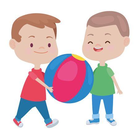enfants heureux garçons jouant et s'amusant avec la conception graphique d'illustration vectorielle de balle. Vecteurs