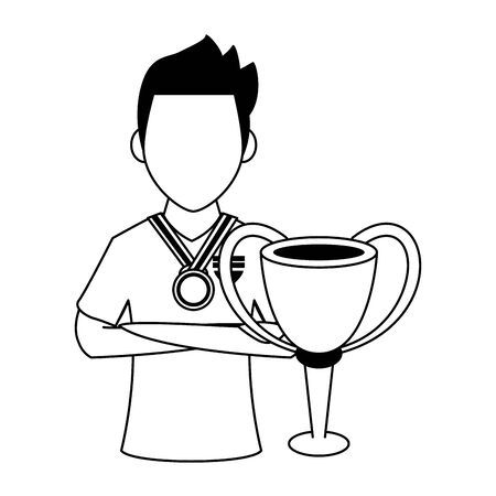 Soccer player holding trophy cup sport game cartoon vector illustration graphic design Archivio Fotografico - 133153093