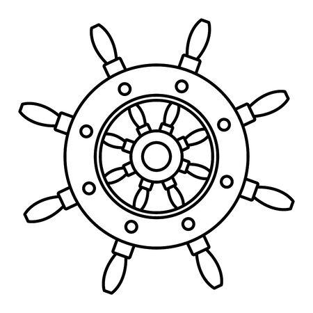 Ship wooden steering wheel cartoon vector illustration graphic design