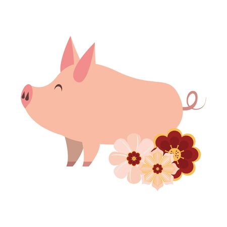 cute animal pig farm mammal pet with flowers cartoon vector illustration graphic design Иллюстрация