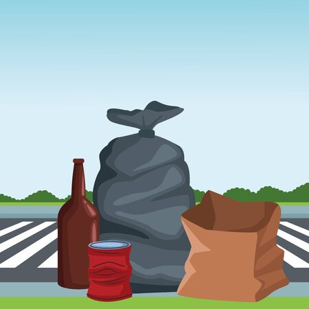 garbage bag, glass bottle, crumpled can and paper bag icon cartoon outdoor next to the street and some shruberry in the horizon vector illustration graphic design