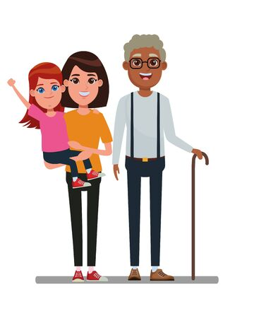 family avatar mother with short hair carrying a young girl and afroamerican grandfather with glasse and cane profile picture cartoon character portrait vector illustration graphic design