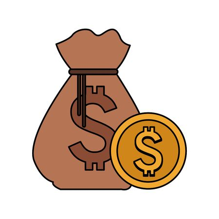 colorful design of money bag with coin icon over white background, vector illustration 向量圖像