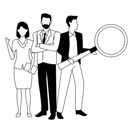 Group of business partners with business and symbols, executive entrepreneur teamwork ,vector illustration graphic design. Stock Illustratie