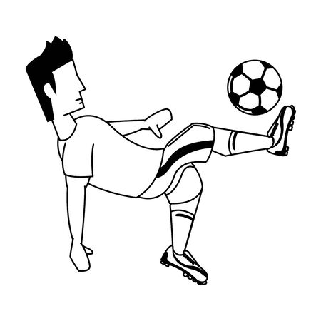 Soccer player kicking ball cartoon isolated vector illustration graphic design Archivio Fotografico - 133154289