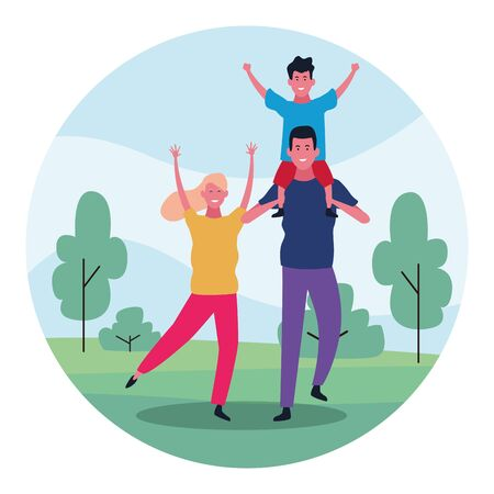 cartoon family with a kid having fun in the park over white background, colorful design. vector illustration Banque d'images - 133142422