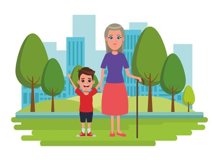family avatar grandmother with cane next to a child profile picture cartoon character portrait over the grass with trees and building cityscape vector illustration graphic design Banque d'images - 133154320