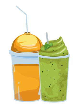 fruit tropical smoothie drink with dome lid, plastic cup and straw icon cartoon vector illustration graphic design