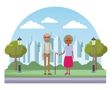 elderly people avatar afroamerican old woman and old man with beard, glasses and cane profile picture cartoon character portrait in the street with trees, lamps,building and skyscraper cityscape silhouette vector illustration graphic design Banque d'images - 133154349