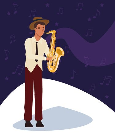 Jazz saxophonist musician, colorful design. vector illustration
