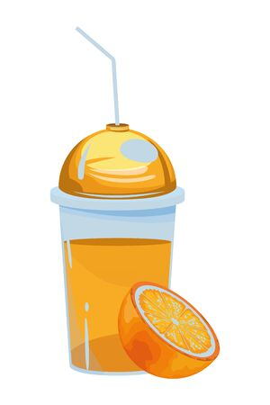 tropical fruit and smoothie drink with orange icon cartoon vector illustration graphic design