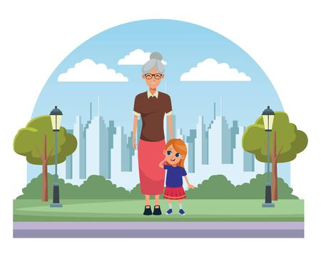 Family grandmother taking care of granddaughter on city park scenery background ,vector illustration graphic design.