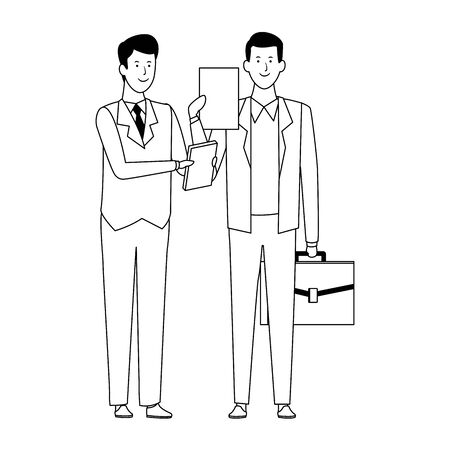 businessmen standing with documents and briefcase over white background, vector illustration