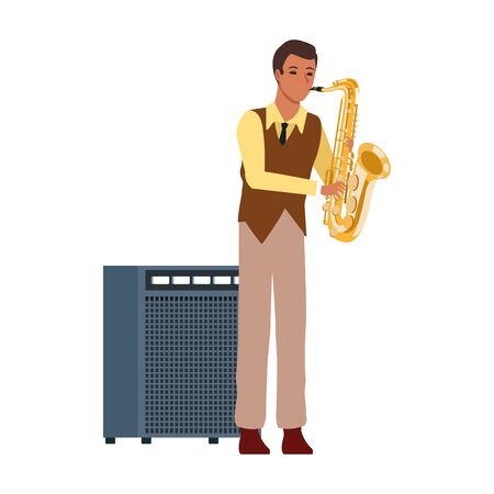cartoon musician playing a saxophone and sound amplifier over white background, colorful design. vector illustration