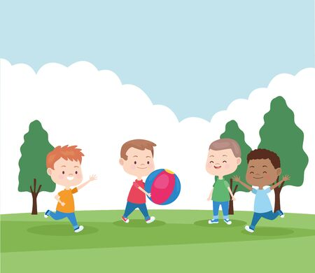 happy kids playing in the park with a ball, colorful design , vector illustration Banque d'images - 133153048