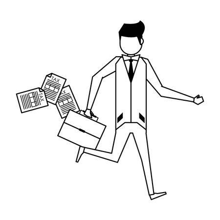 executive business finance man wearing suit and holding suitcase cartoon vector illustration graphic design Stock Illustratie