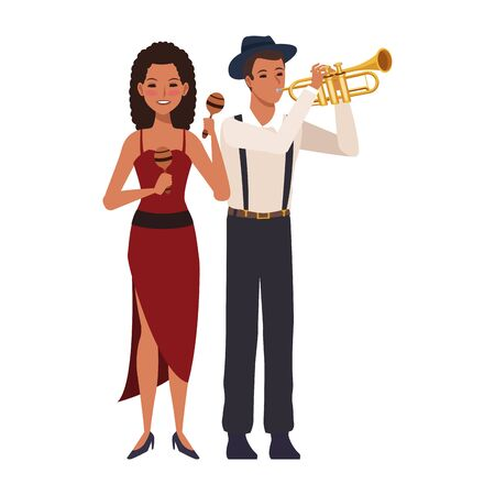 cartoon musician playing trumpet and girl with maracas over white background, colorful design. vector illustration
