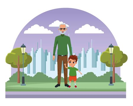 grandson and grandfather with holding hands isolated on city park scenery background ,vector illustration graphic design.