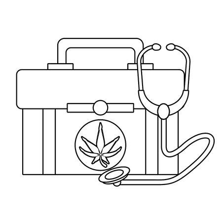 cannabis martihuana medical marijuana sativa hemp medicine plant kit cartoon vector illustration graphic design Иллюстрация