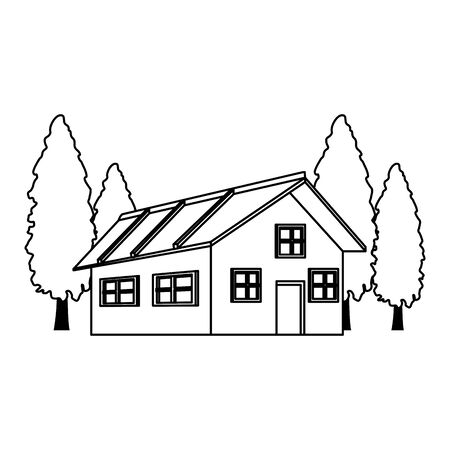 house around pine trees icon over white background, vector illustration